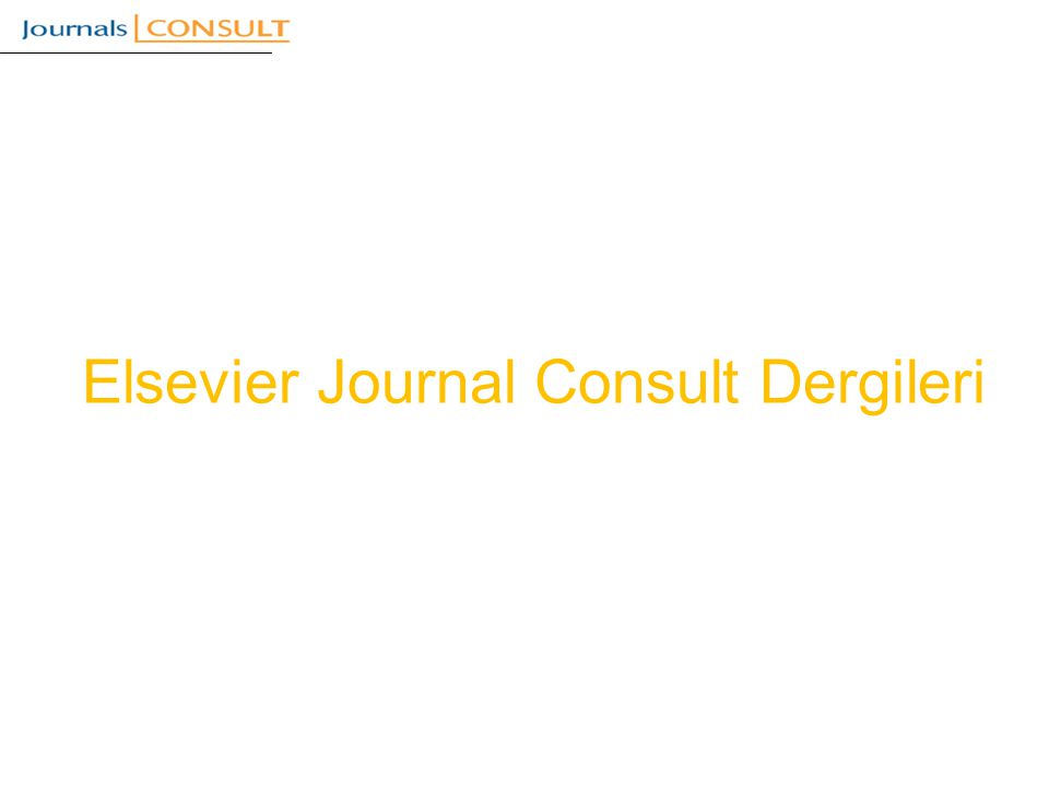 Elsevier Journal Consult Dergileri