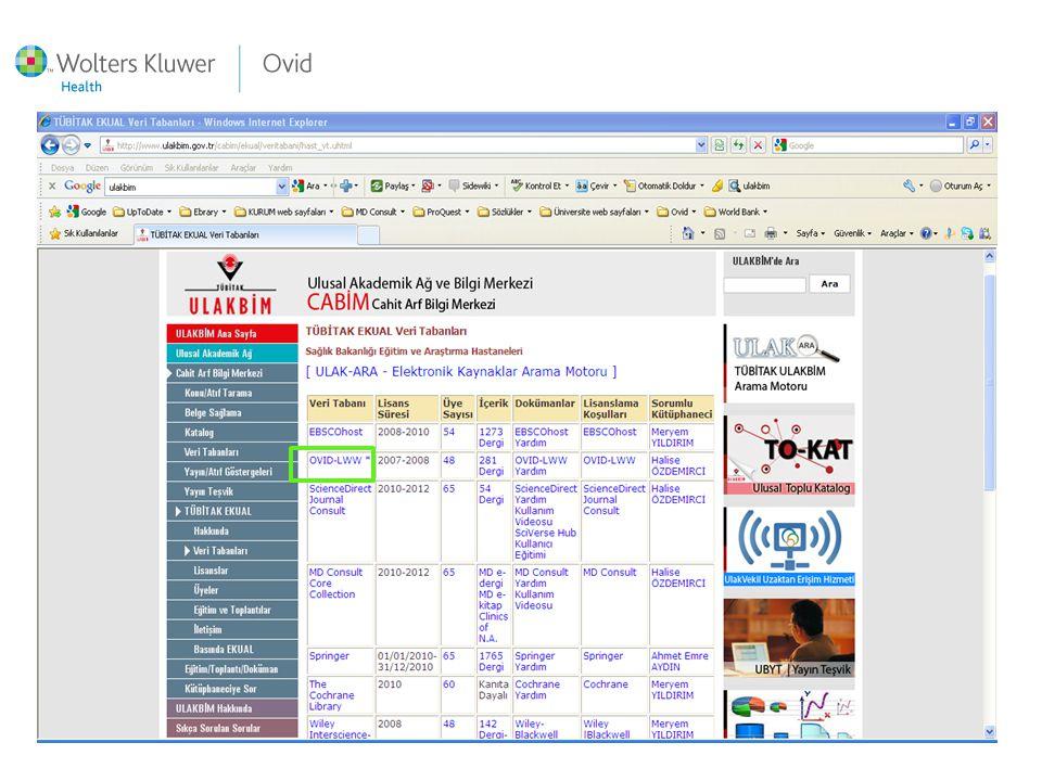 Ekual sayfası screenshot ovid çerçeve içinde Lisans dönemi