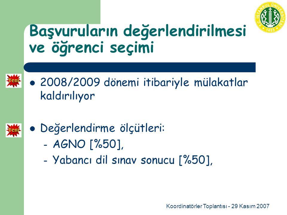 Koordinatörler Toplantısı - 29 Kasım 2007 Başvuruların değerlendirilmesi ve öğrenci seçimi 2008/2009 dönemi itibariyle mülakatlar kaldırılıyor Değerlendirme ölçütleri: – AGNO [%50], – Yabancı dil sınav sonucu [%50],