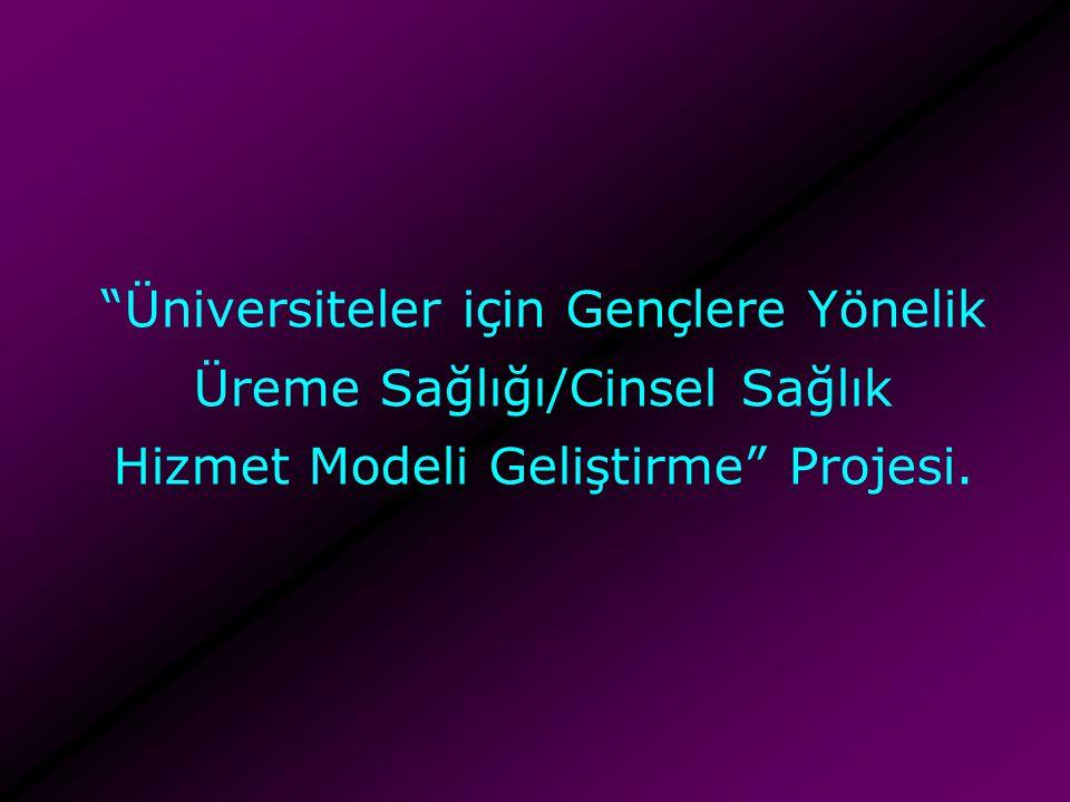 """""""Üniversiteler için Gençlere Yönelik Üreme Sağlığı/Cinsel Sağlık Hizmet Modeli Geliştirme"""" Projesi."""