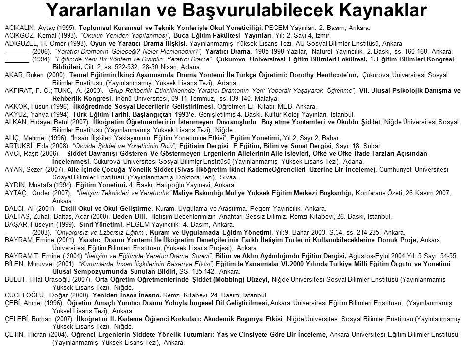 Yararlanılan ve Başvurulabilecek Kaynaklar AÇIKALIN, Aytaç (1995). Toplumsal Kuramsal ve Teknik Yönleriyle Okul Yöneticiliği. PEGEM Yayınları. 2. Bası