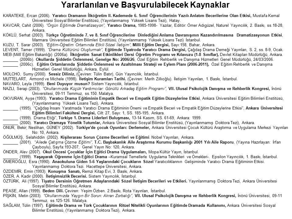 Yararlanılan ve Başvurulabilecek Kaynaklar KARATEKE, Ercan (2006). Yaratıcı Dramanın İlköğretim II. Kademede 6. Sınıf Öğrencilerinin Yazılı Anlatım Be