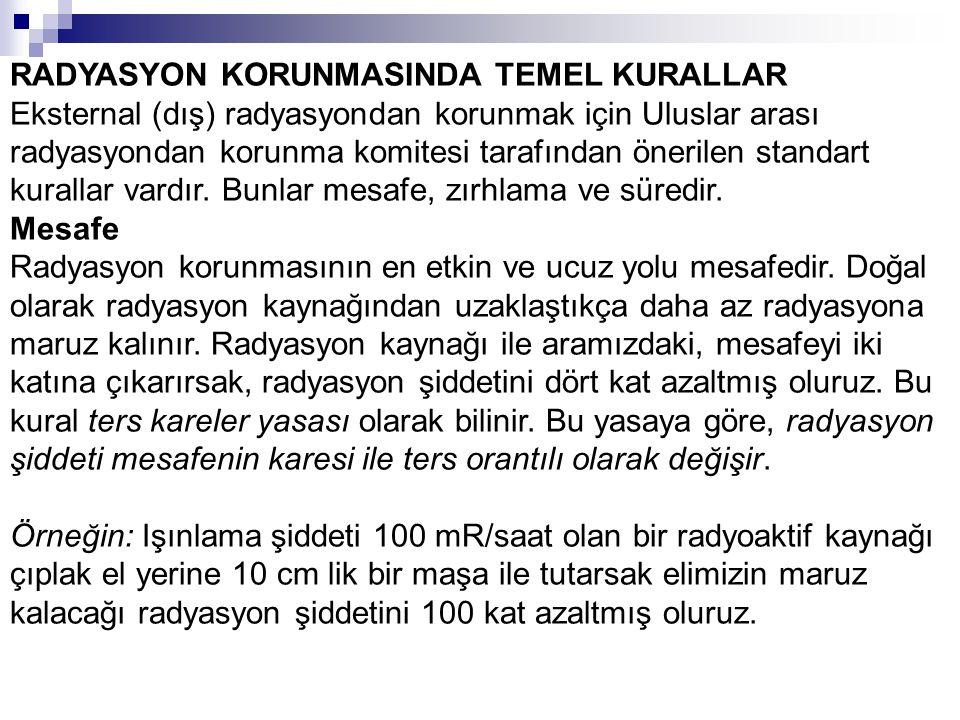 RADYASYON KORUNMASINDA TEMEL KURALLAR Eksternal (dış) radyasyondan korunmak için Uluslar arası radyasyondan korunma komitesi tarafından önerilen stand
