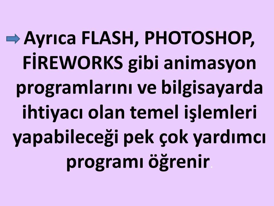 Ayrıca FLASH, PHOTOSHOP, FİREWORKS gibi animasyon programlarını ve bilgisayarda ihtiyacı olan temel işlemleri yapabileceği pek çok yardımcı programı ö