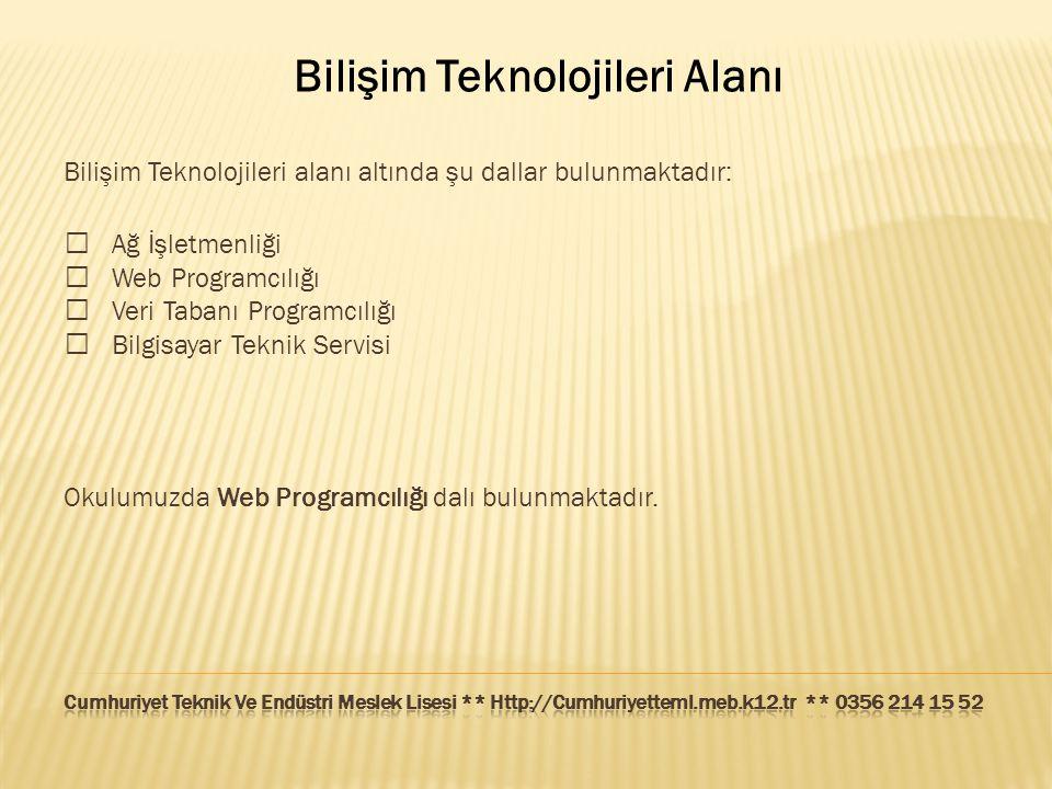 Bilişim Teknolojileri Alanı Bilişim Teknolojileri alanı altında şu dallar bulunmaktadır:  Ağ İşletmenliği  Web Programcılığı  Veri Tabanı Programcı