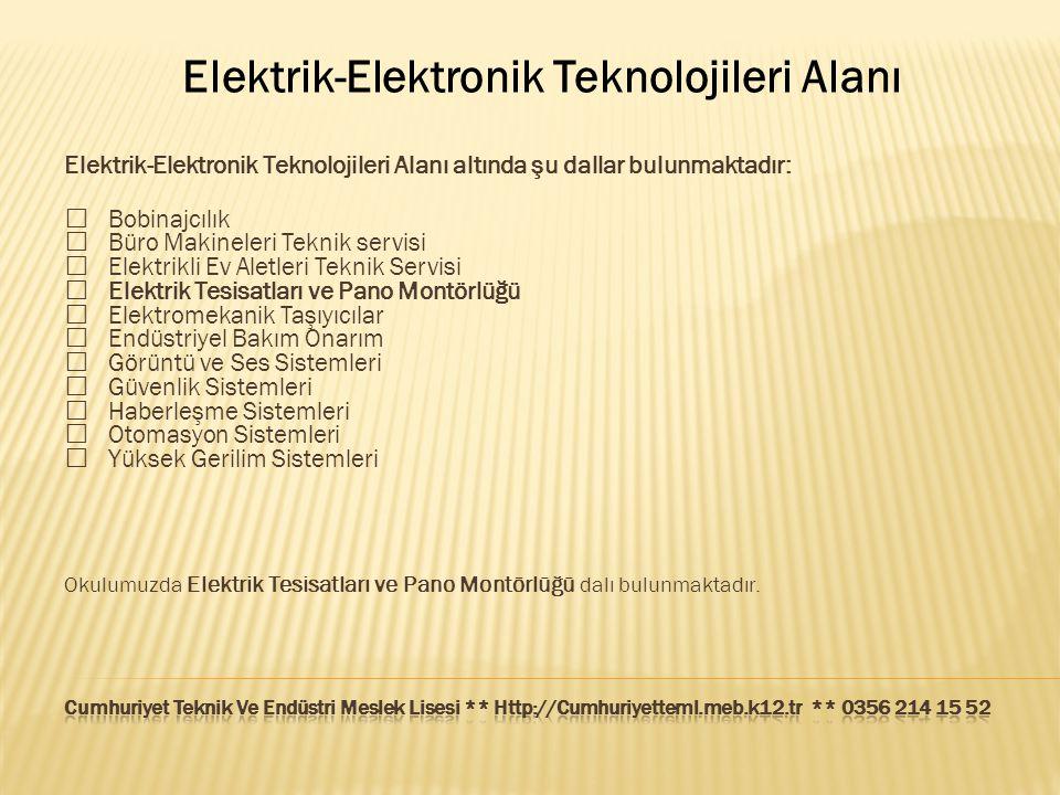 Elektrik-Elektronik Teknolojileri Alanı Elektrik-Elektronik Teknolojileri Alanı altında şu dallar bulunmaktadır:  Bobinajcılık  Büro Makineleri Tekn