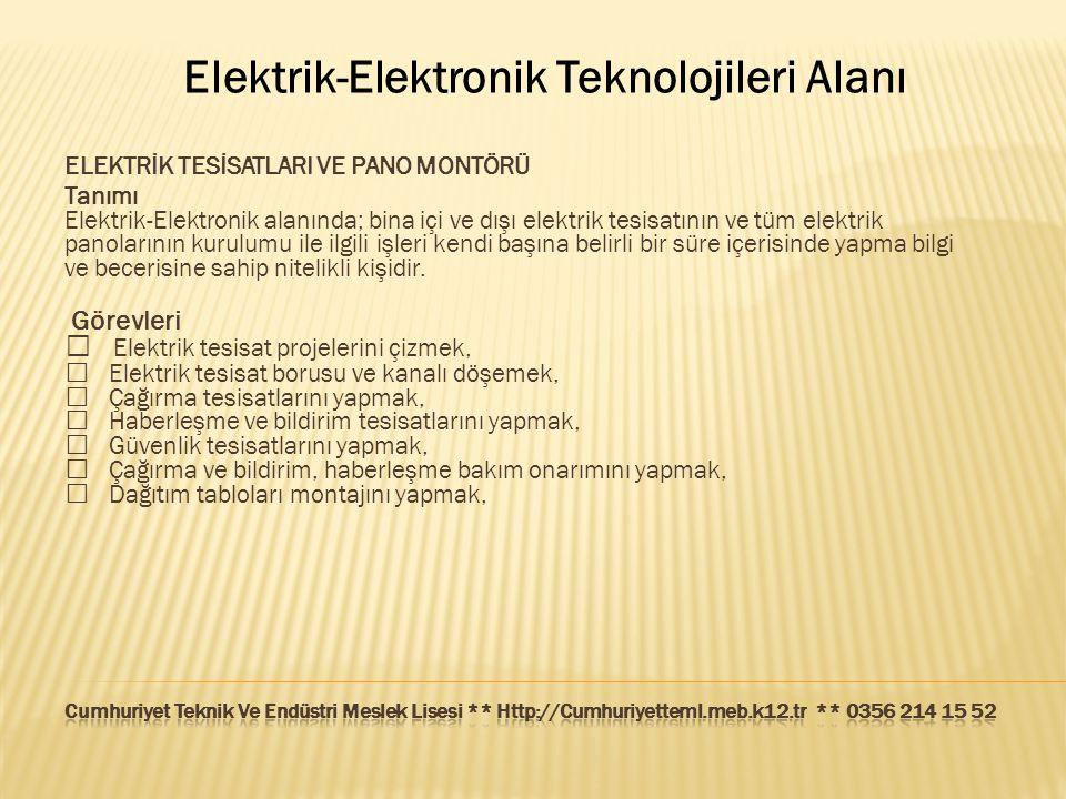 Elektrik-Elektronik Teknolojileri Alanı ELEKTRİK TESİSATLARI VE PANO MONTÖRÜ Tanımı Elektrik-Elektronik alanında; bina içi ve dışı elektrik tesisatını