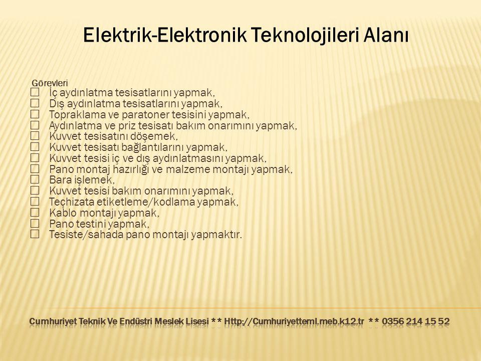 Elektrik-Elektronik Teknolojileri Alanı Görevleri  İç aydınlatma tesisatlarını yapmak,  Dış aydınlatma tesisatlarını yapmak,  Topraklama ve paraton