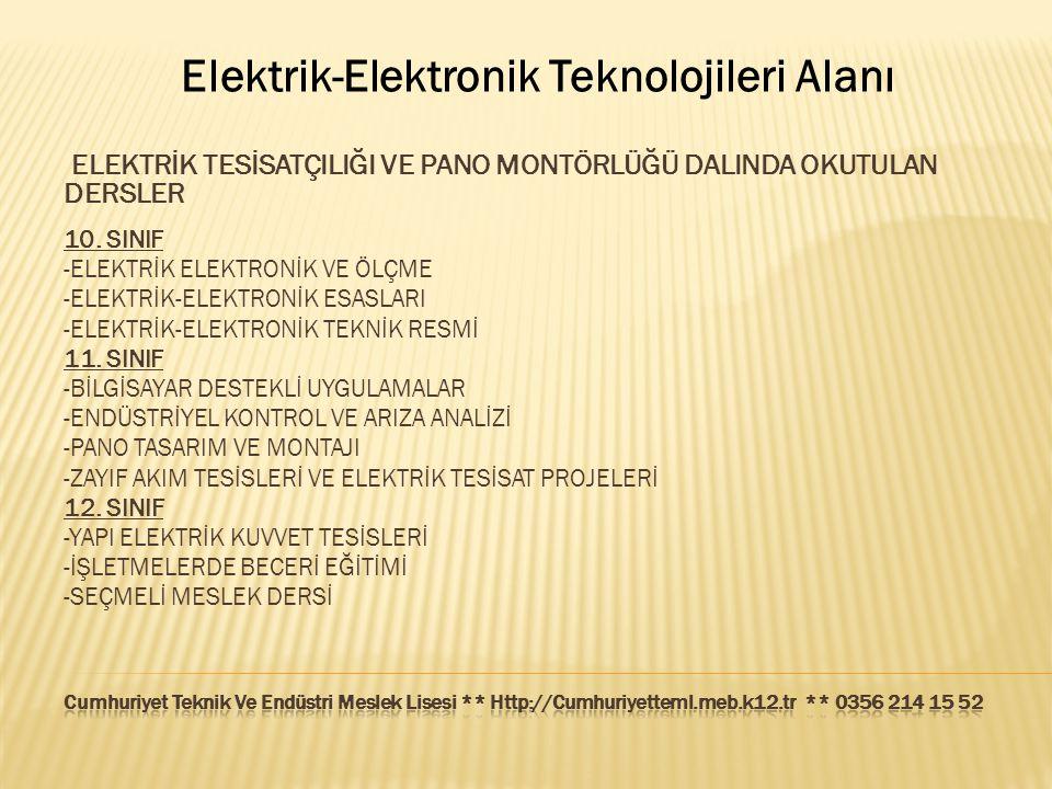 Elektrik-Elektronik Teknolojileri Alanı ELEKTRİK TESİSATÇILIĞI VE PANO MONTÖRLÜĞÜ DALINDA OKUTULAN DERSLER 10. SINIF -ELEKTRİK ELEKTRONİK VE ÖLÇME -EL