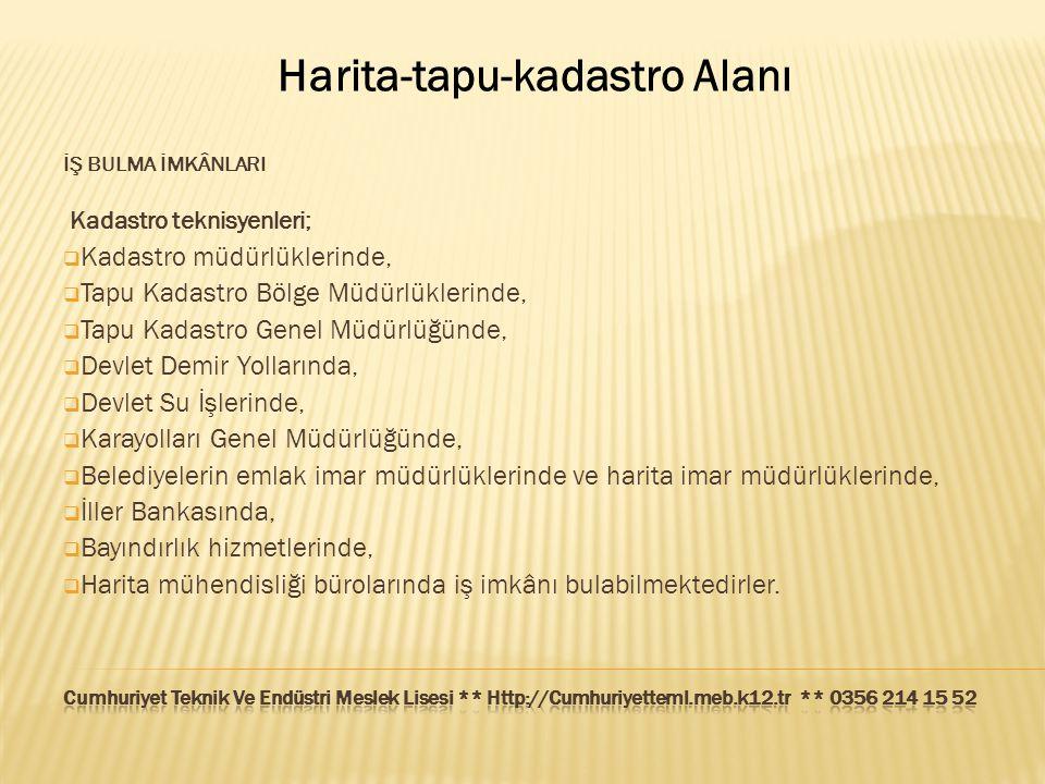 Harita-tapu-kadastro Alanı İŞ BULMA İMKÂNLARI Kadastro teknisyenleri;  Kadastro müdürlüklerinde,  Tapu Kadastro Bölge Müdürlüklerinde,  Tapu Kadast