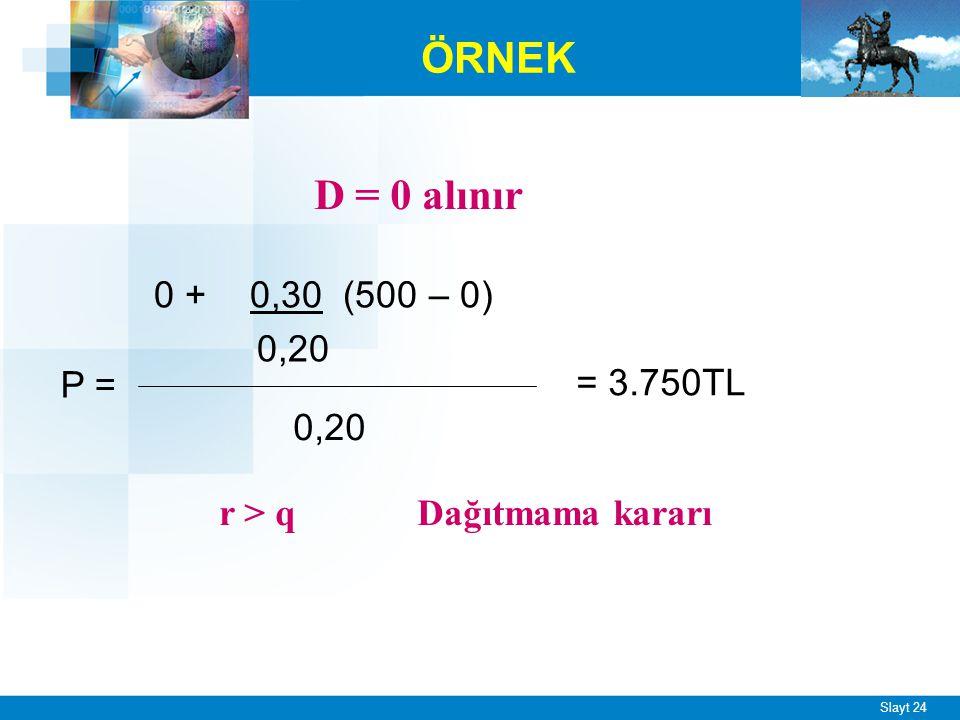 Slayt 24 ÖRNEK 0 + 0,30 (500 – 0) 0,20 = 3.750TL P = D = 0 alınır r > q Dağıtmama kararı