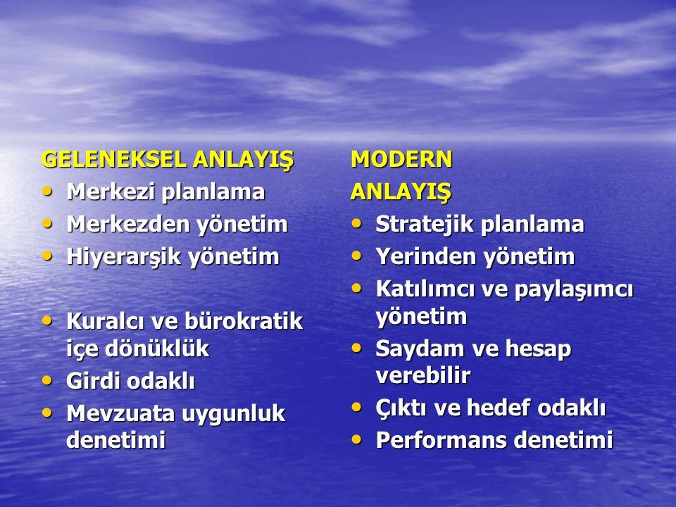 GELENEKSEL ANLAYIŞ Merkezi planlama Merkezi planlama Merkezden yönetim Merkezden yönetim Hiyerarşik yönetim Hiyerarşik yönetim Kuralcı ve bürokratik i