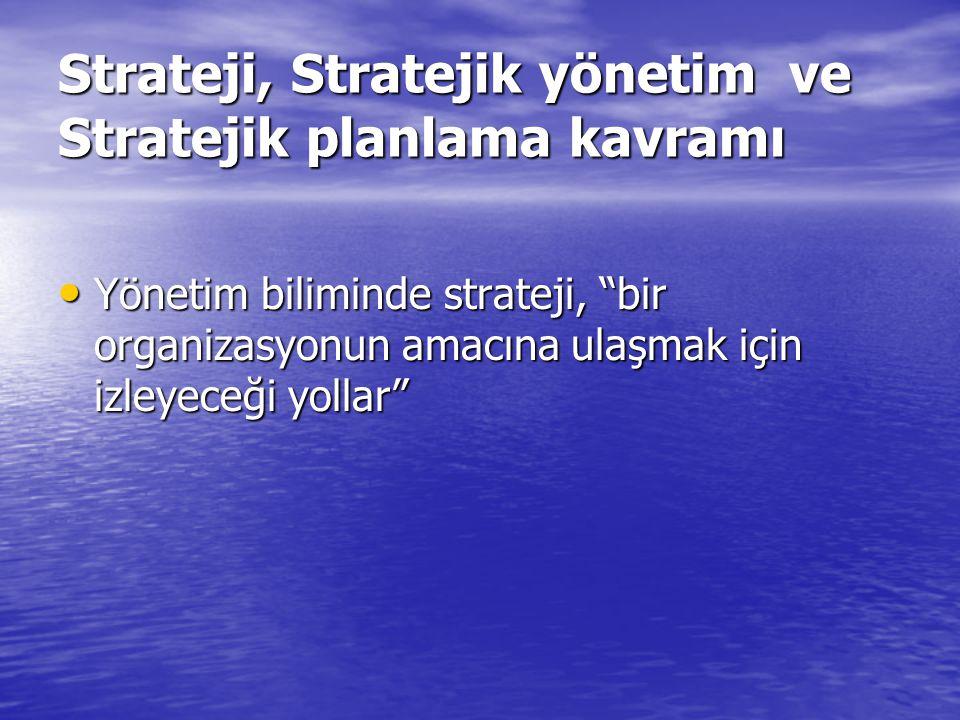 """Strateji, Stratejik yönetim ve Stratejik planlama kavramı Yönetim biliminde strateji, """"bir organizasyonun amacına ulaşmak için izleyeceği yollar"""" Yöne"""