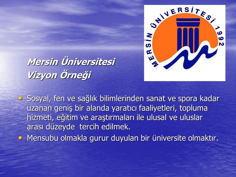 Mersin Üniversitesi Mersin Üniversitesi Vizyon Örneği Vizyon Örneği Sosyal, fen ve sağlık bilimlerinden sanat ve spora kadar uzanan geniş bir alanda y