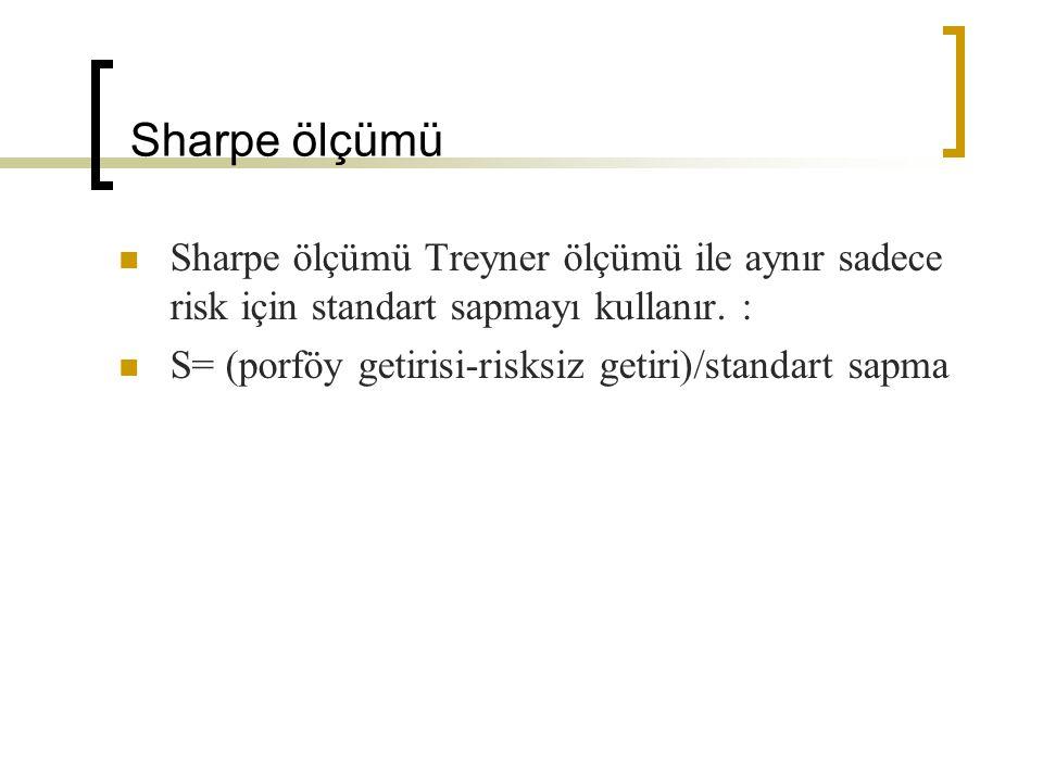 Sharpe ve Treynor Karşılaştırması Sharpe ve Treynor ölçümleri benzerdir fakat farklılıkları vardır :  S standard sapmayı, T betayı kullanır  S iyi çeşitlendirilmiş (diversified) portföy için, T bireysel hisseler için kullanılır.