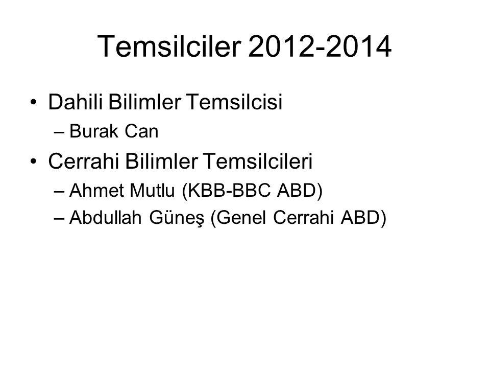 Temsilciler 2012-2014 Dahili Bilimler Temsilcisi –Burak Can Cerrahi Bilimler Temsilcileri –Ahmet Mutlu (KBB-BBC ABD) –Abdullah Güneş (Genel Cerrahi AB