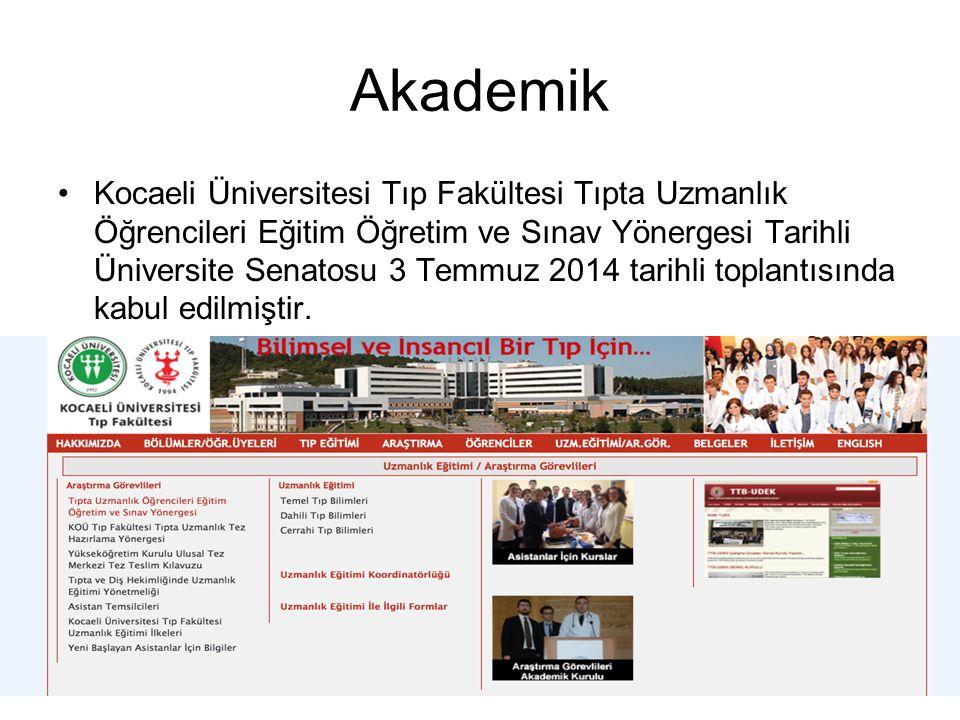 Akademik Kocaeli Üniversitesi Tıp Fakültesi Tıpta Uzmanlık Öğrencileri Eğitim Öğretim ve Sınav Yönergesi Tarihli Üniversite Senatosu 3 Temmuz 2014 tar