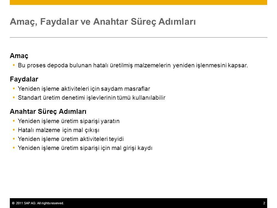 ©2011 SAP AG. All rights reserved.2 Amaç, Faydalar ve Anahtar Süreç Adımları Amaç  Bu proses depoda bulunan hatalı üretilmiş malzemelerin yeniden işl