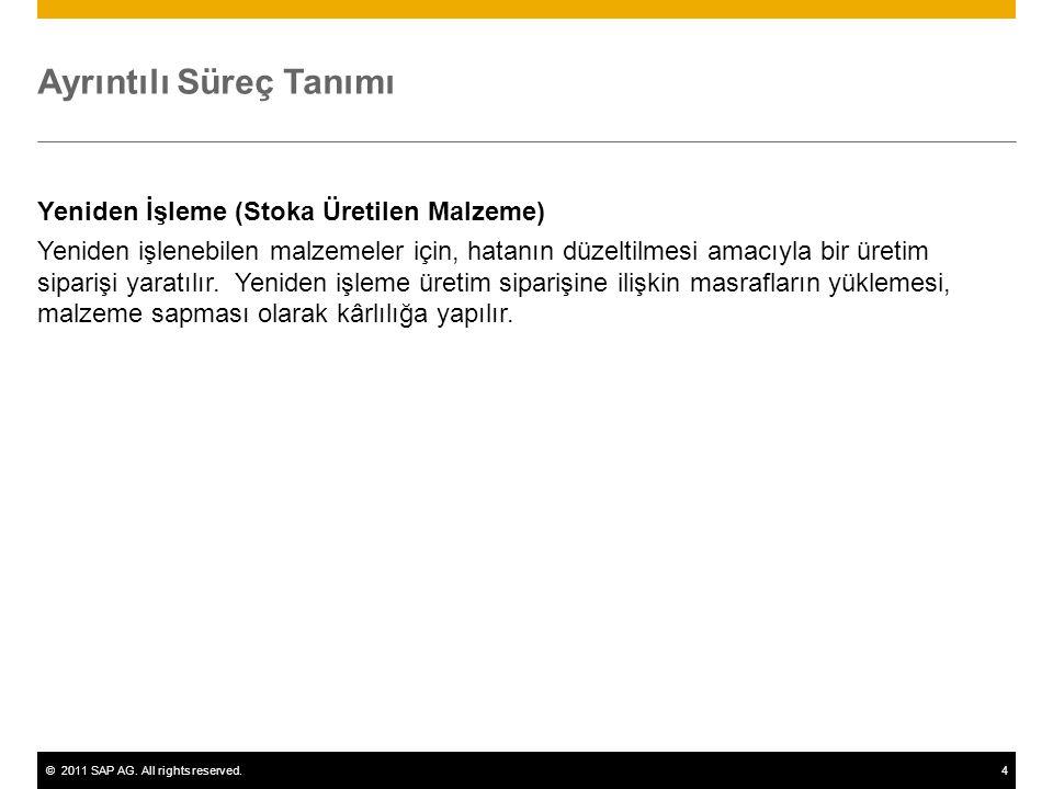 ©2011 SAP AG. All rights reserved.4 Ayrıntılı Süreç Tanımı Yeniden İşleme (Stoka Üretilen Malzeme) Yeniden işlenebilen malzemeler için, hatanın düzelt
