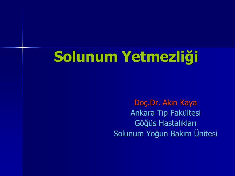 Solunum Yetmezliği Solunum Yetmezliği Doç.Dr. Akın Kaya Ankara Tıp Fakültesi Göğüs Hastalıkları Solunum Yoğun Bakım Ünitesi