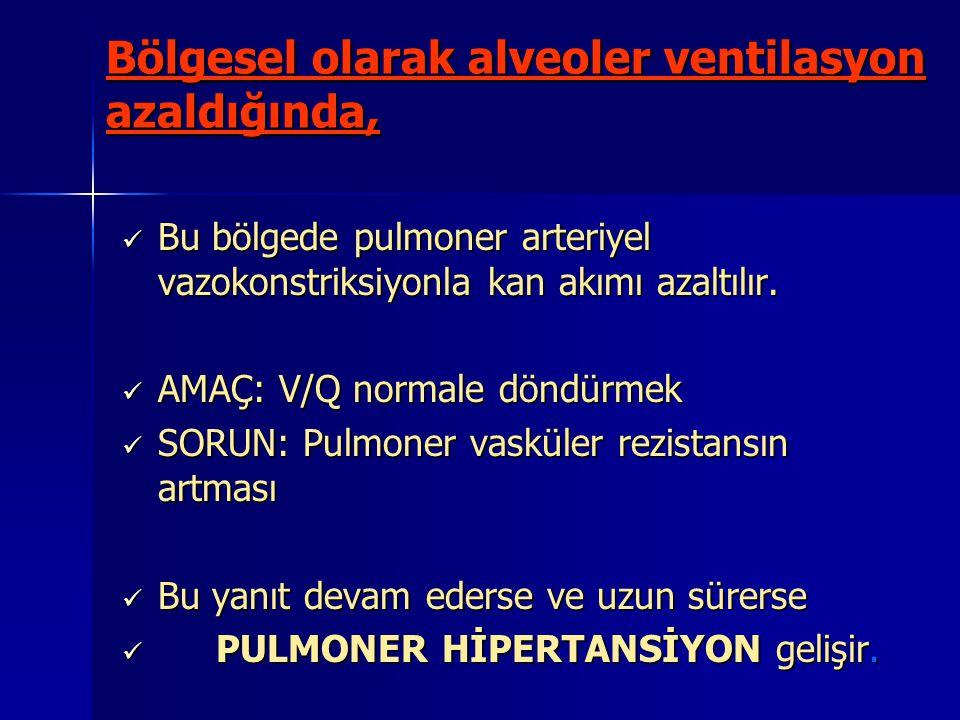 Bölgesel olarak alveoler ventilasyon azaldığında, Bu bölgede pulmoner arteriyel vazokonstriksiyonla kan akımı azaltılır. Bu bölgede pulmoner arteriyel