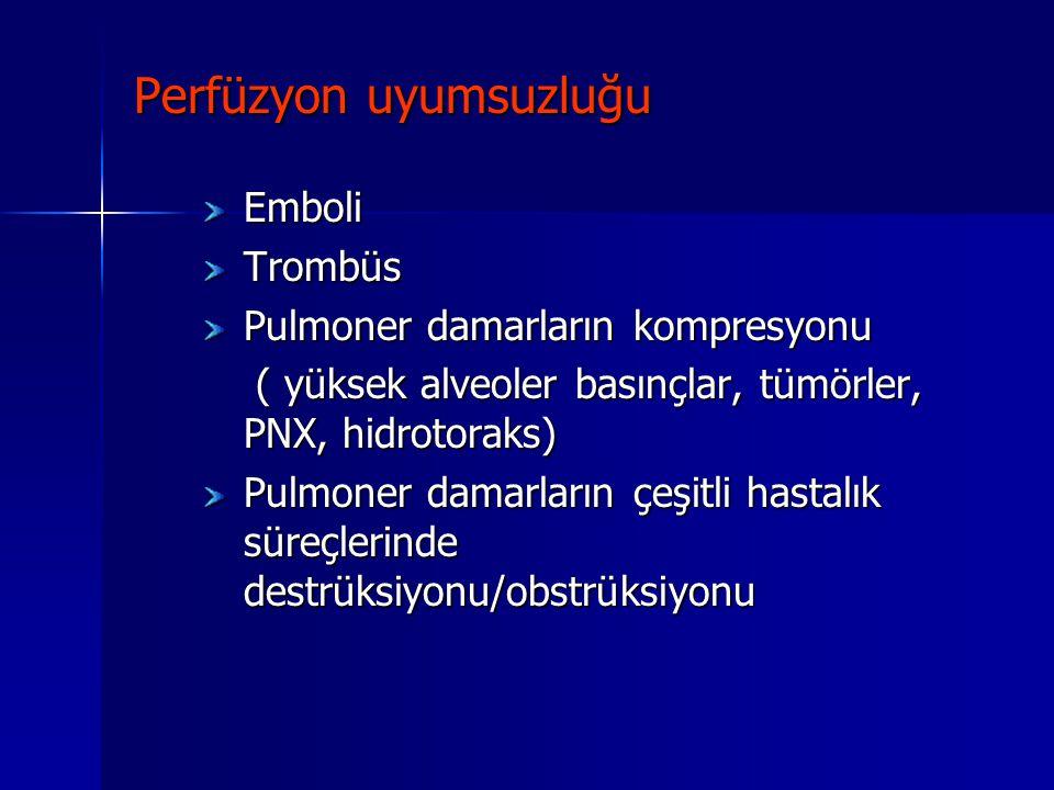 Perfüzyon uyumsuzluğu EmboliTrombüs Pulmoner damarların kompresyonu ( yüksek alveoler basınçlar, tümörler, PNX, hidrotoraks) ( yüksek alveoler basınçl
