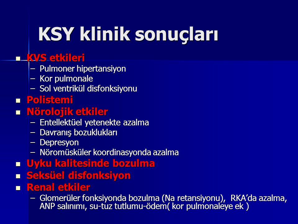 KSY klinik sonuçları KVS etkileri KVS etkileri –Pulmoner hipertansiyon –Kor pulmonale –Sol ventrikül disfonksiyonu Polistemi Polistemi Nörolojik etkil
