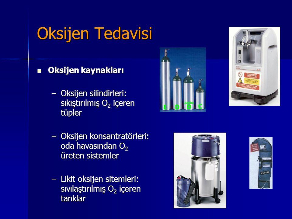 Oksijen Tedavisi Oksijen kaynakları Oksijen kaynakları –Oksijen silindirleri: sıkıştırılmış O 2 içeren tüpler –Oksijen konsantratörleri: oda havasında