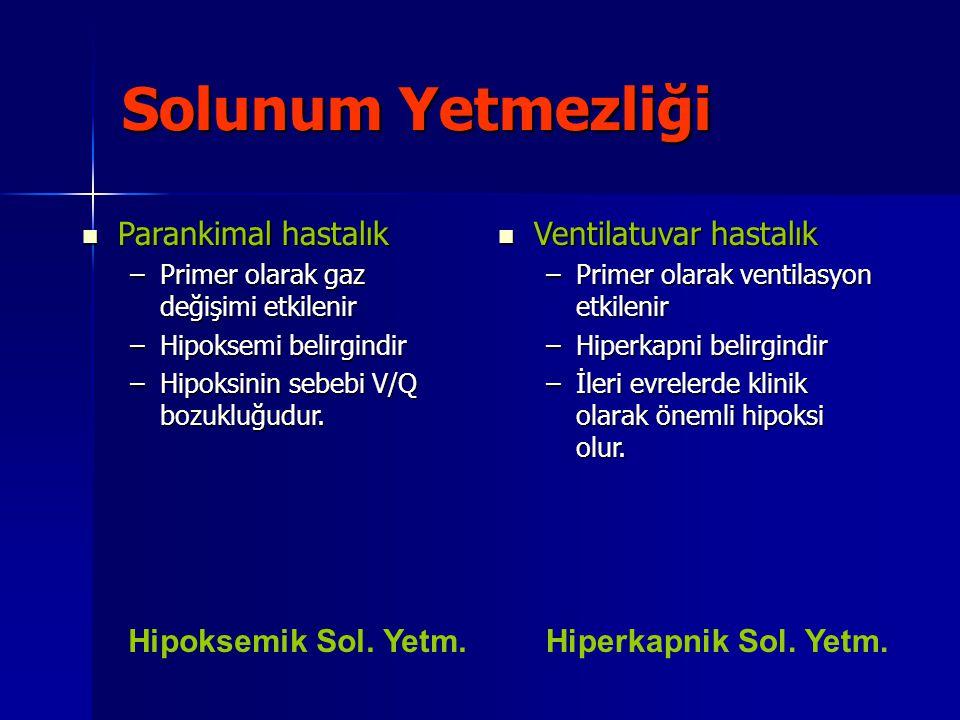 Solunum Yetmezliği Parankimal hastalık Parankimal hastalık –Primer olarak gaz değişimi etkilenir –Hipoksemi belirgindir –Hipoksinin sebebi V/Q bozuklu
