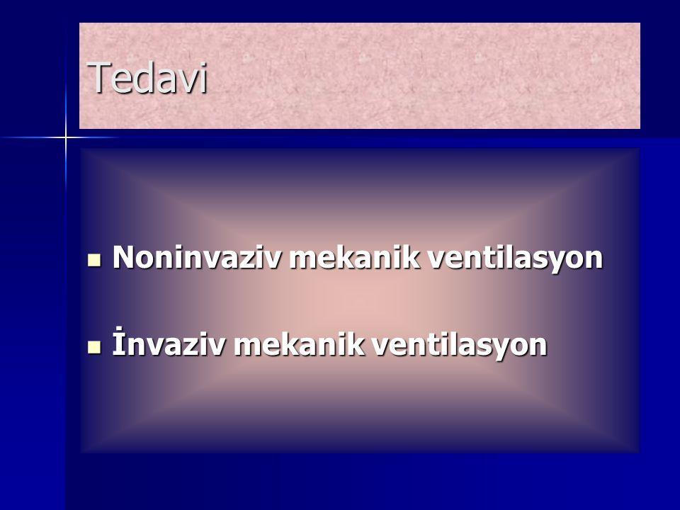 Tedavi Noninvaziv mekanik ventilasyon Noninvaziv mekanik ventilasyon İnvaziv mekanik ventilasyon İnvaziv mekanik ventilasyon