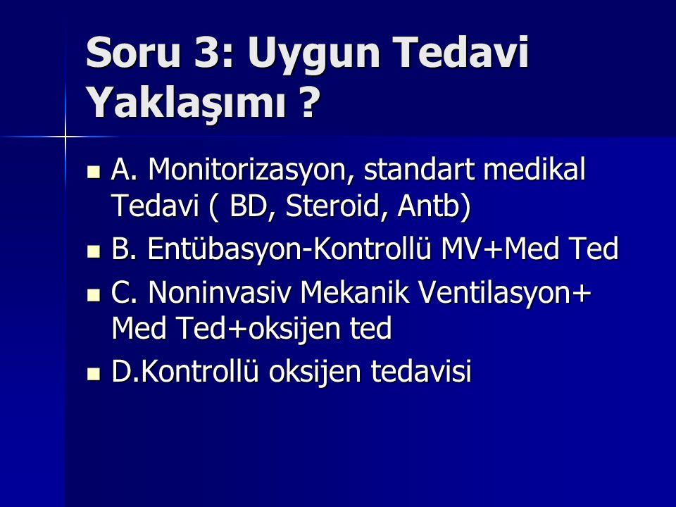 Soru 3: Uygun Tedavi Yaklaşımı ? A. Monitorizasyon, standart medikal Tedavi ( BD, Steroid, Antb) A. Monitorizasyon, standart medikal Tedavi ( BD, Ster