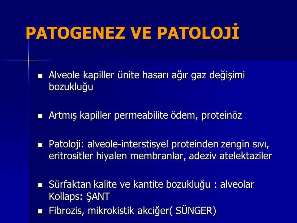 PATOGENEZ VE PATOLOJİ Alveole kapiller ünite hasarı ağır gaz değişimi bozukluğu Alveole kapiller ünite hasarı ağır gaz değişimi bozukluğu Artmış kapil