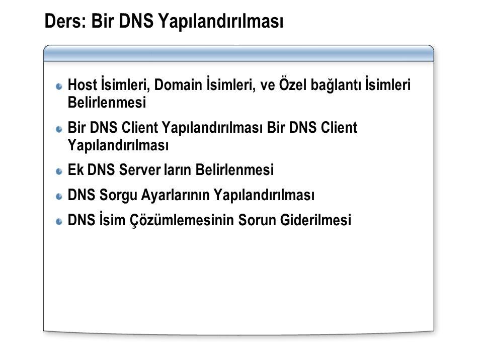 Ders: Bir DNS Yapılandırılması Host İsimleri, Domain İsimleri, ve Özel bağlantı İsimleri Belirlenmesi Bir DNS Client Yapılandırılması Ek DNS Server la
