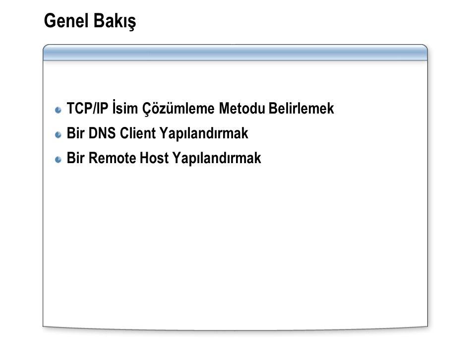Genel Bakış TCP/IP İsim Çözümleme Metodu Belirlemek Bir DNS Client Yapılandırmak Bir Remote Host Yapılandırmak