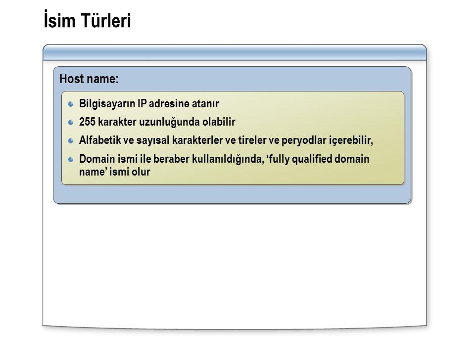 İsim Türleri Host name: Bilgisayarın IP adresine atanır 255 karakter uzunluğunda olabilir Alfabetik ve sayısal karakterler ve tireler ve peryodlar içerebilir, Domain ismi ile beraber kullanıldığında, 'fully qualified domain name' ismi olur Bilgisayarın IP adresine atanır 255 karakter uzunluğunda olabilir Alfabetik ve sayısal karakterler ve tireler ve peryodlar içerebilir, Domain ismi ile beraber kullanıldığında, 'fully qualified domain name' ismi olur