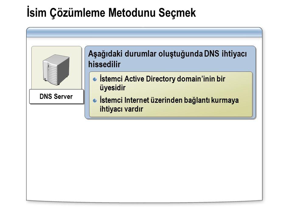 İsim Çözümleme Metodunu Seçmek Aşağıdaki durumlar oluştuğunda DNS ihtiyacı hissedilir İstemci Active Directory domain'inin bir üyesidir İstemci Internet üzerinden bağlantı kurmaya ihtiyacı vardır İstemci Active Directory domain'inin bir üyesidir İstemci Internet üzerinden bağlantı kurmaya ihtiyacı vardır DNS Server