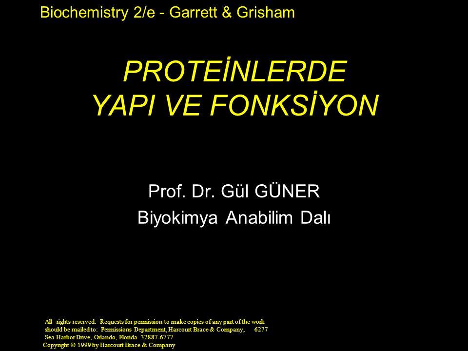 Biochemistry 2/e - Garrett & Grisham Copyright © 1999 by Harcourt Brace & Company PROTEİNLERDE YAPI VE FONKSİYON Prof. Dr. Gül GÜNER Biyokimya Anabili