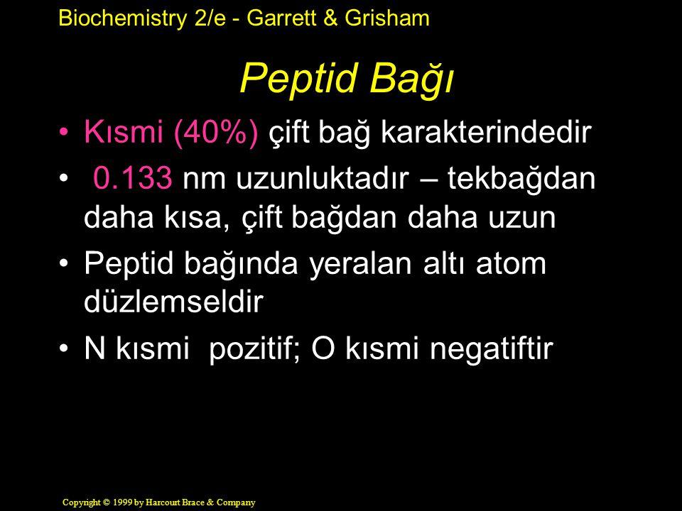 Biochemistry 2/e - Garrett & Grisham Copyright © 1999 by Harcourt Brace & Company Peptid Bağı Kısmi (40%) çift bağ karakterindedir 0.133 nm uzunluktadır – tekbağdan daha kısa, çift bağdan daha uzun Peptid bağında yeralan altı atom düzlemseldir N kısmi pozitif; O kısmi negatiftir