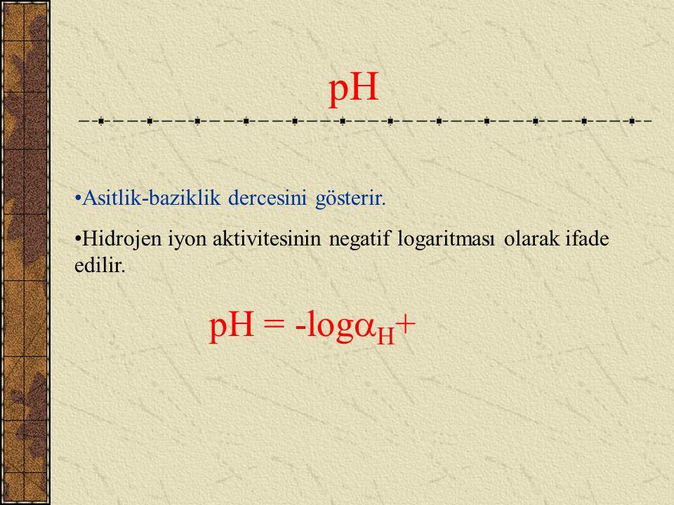 pH Asitlik-baziklik dercesini gösterir.