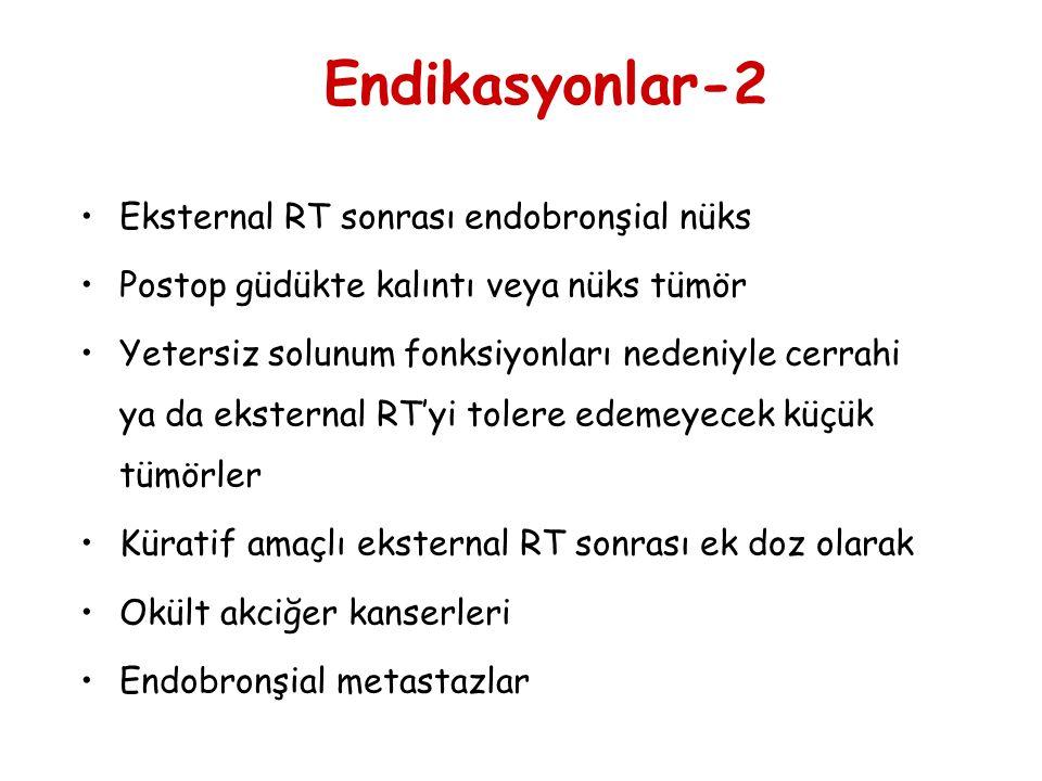 Eksternal RT sonrası endobronşial nüks Postop güdükte kalıntı veya nüks tümör Yetersiz solunum fonksiyonları nedeniyle cerrahi ya da eksternal RT'yi t