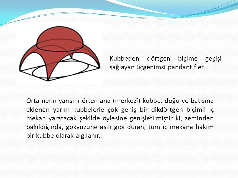 Kubbeden dörtgen biçime geçişi sağlayan üçgenimsi pandantifler Orta nefin yarısını örten ana (merkezî) kubbe, doğu ve batısına eklenen yarım kubbelerl