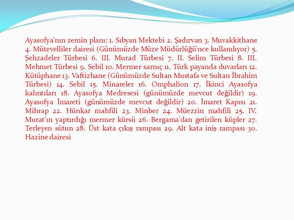 Ayasofya'nın zemin planı: 1. Sıbyan Mektebi 2. Şadırvan 3. Muvakkithane 4. Mütevelliler dairesi (Günümüzde Müze Müdürlüğü'nce kullanılıyor) 5. Şehzade