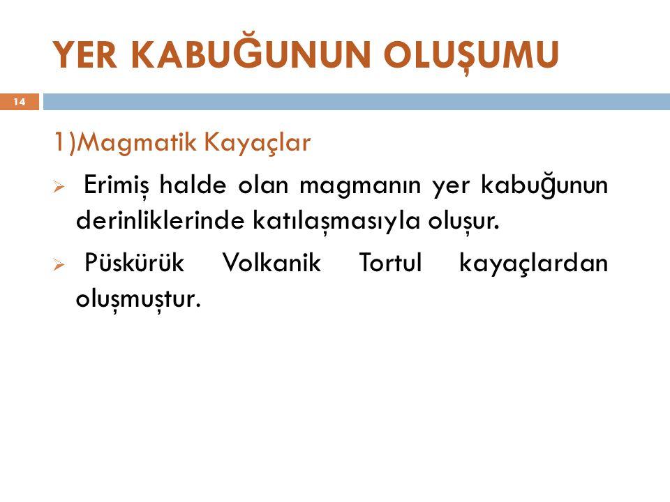 YER KABU Ğ UNUN OLUŞUMU 1)Magmatik Kayaçlar  Erimiş halde olan magmanın yer kabu ğ unun derinliklerinde katılaşmasıyla oluşur.