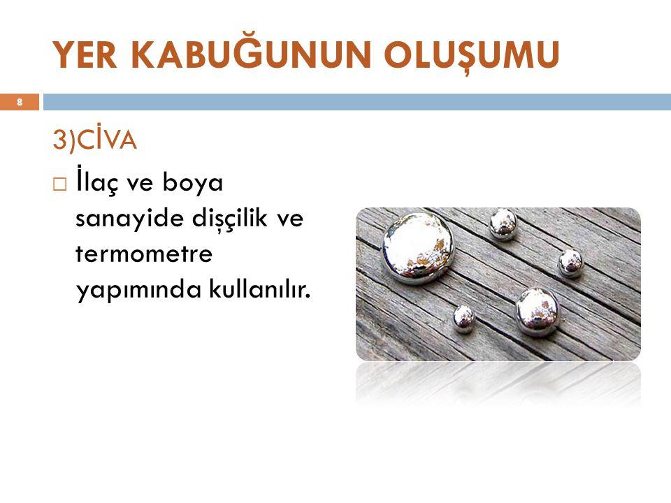 YER KABU Ğ UNUN OLUŞUMU 3)C İ VA  İ laç ve boya sanayide dişçilik ve termometre yapımında kullanılır.