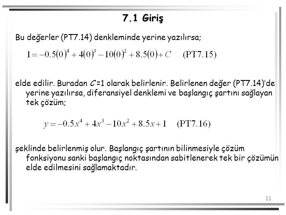 11 7.1 Giriş Bu değerler (PT7.14) denkleminde yerine yazılırsa; elde edilir. Buradan C =1 olarak belirlenir. Belirlenen değer (PT7.14)'de yerine yazıl