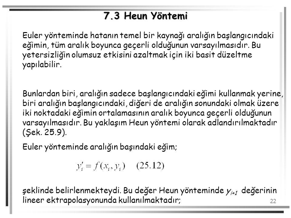 22 Euler yönteminde hatanın temel bir kaynağı aralığın başlangıcındaki eğimin, tüm aralık boyunca geçerli olduğunun varsayılmasıdır. Bu yetersizliğin