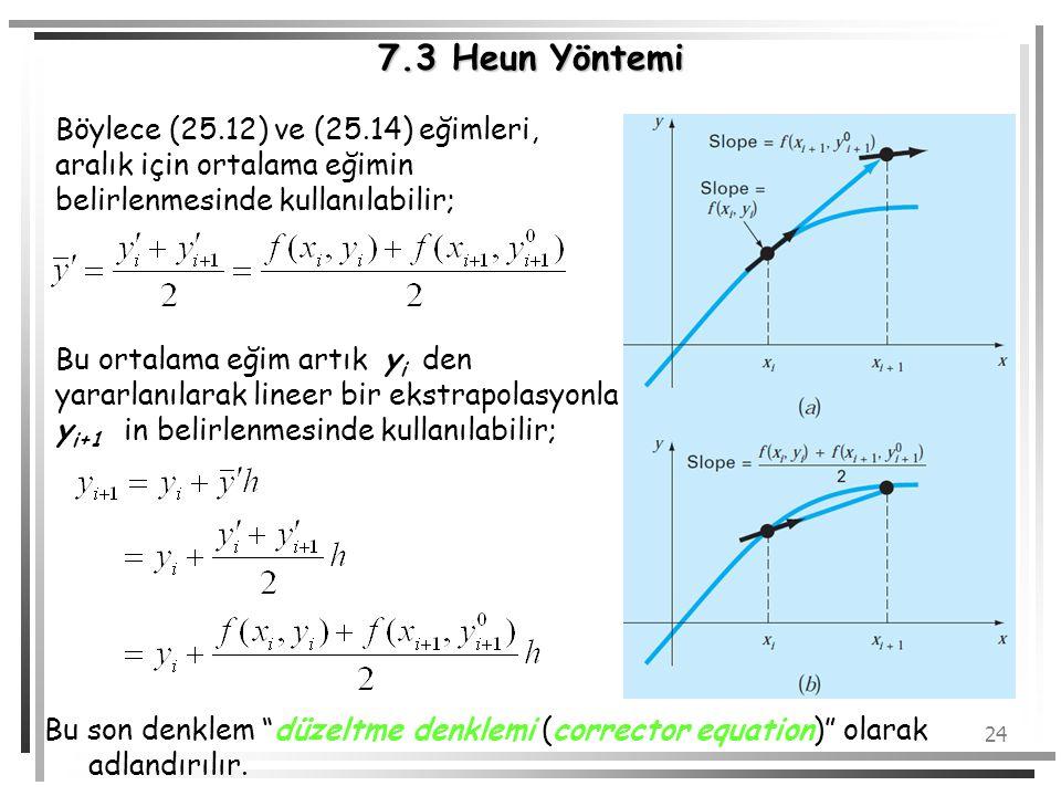 24 7.3 Heun Yöntemi Böylece (25.12) ve (25.14) eğimleri, aralık için ortalama eğimin belirlenmesinde kullanılabilir; Bu ortalama eğim artık y i den ya