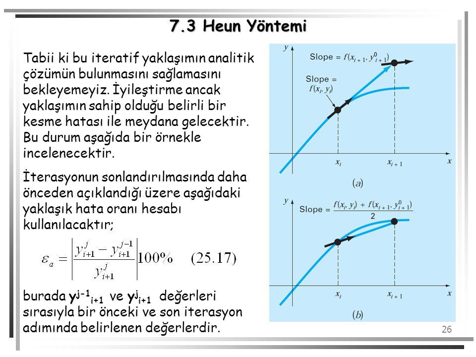 26 7.3 Heun Yöntemi Tabii ki bu iteratif yaklaşımın analitik çözümün bulunmasını sağlamasını bekleyemeyiz. İyileştirme ancak yaklaşımın sahip olduğu b