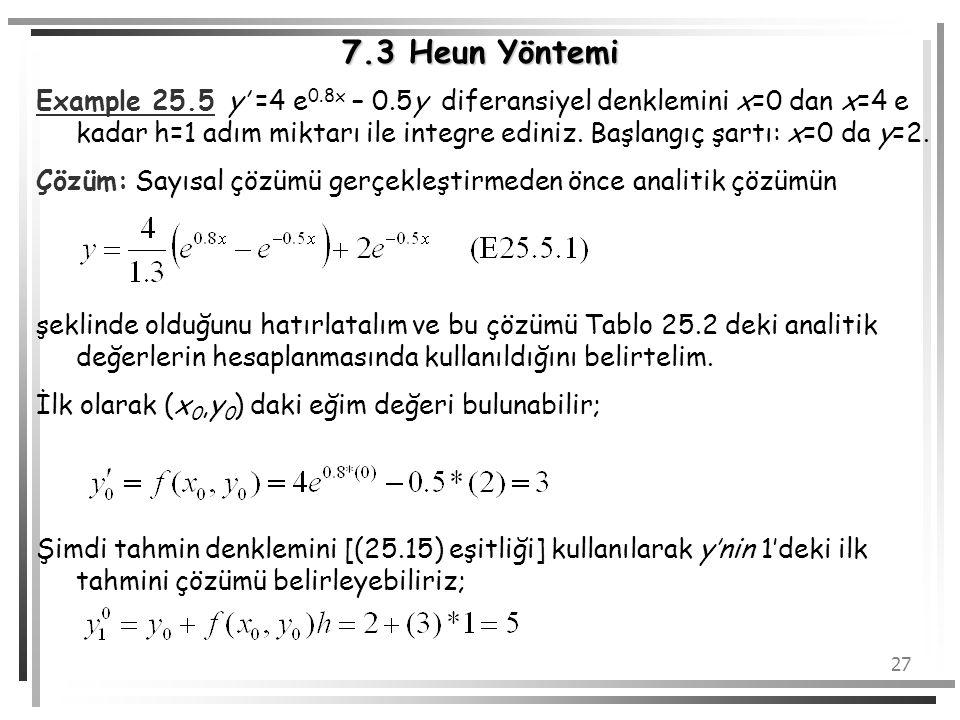 27 7.3 Heun Yöntemi Example 25.5 y' =4 e 0.8x – 0.5y diferansiyel denklemini x=0 dan x=4 e kadar h=1 adım miktarı ile integre ediniz. Başlangıç şartı: