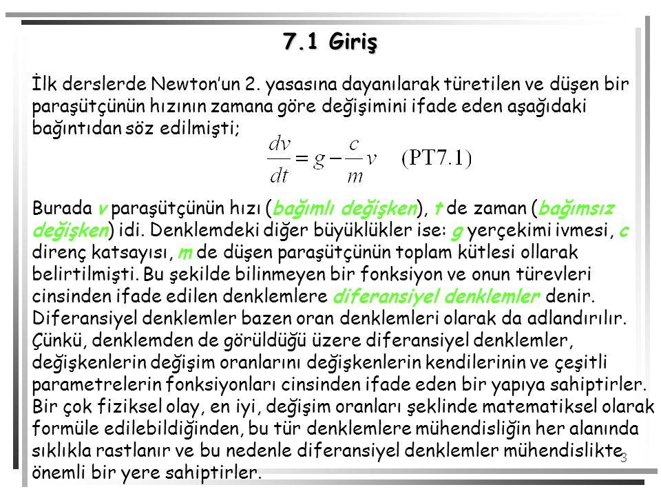 4 7.1 Giriş Eğer diferansiyel denklem tek bir bağımsız değişken içeriyorsa, bu tür diferansiyel denklemlere adi diferansiyel denklemler (ADD) denir.